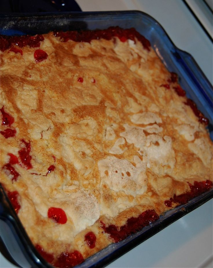 Easy cherry cobbler with 3 ingredients!!  Sounds soooo good!!Pour 1 can of cherry pie filling in the bottom of a 9 x 13 cake pan; pour 1 box of cake mix (dry) over the pie filling (do NOT stir) Melt 1 stick of butter and drizzle over the dry cake mix. Bake at 400 degrees for 30 minutes, or until set.  Serve with whipped cream or ice cream!