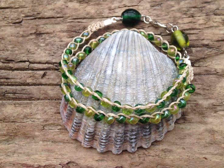 Green Double Wrap Glass Beads Handmade Bracelet by EffyBuu on Etsy
