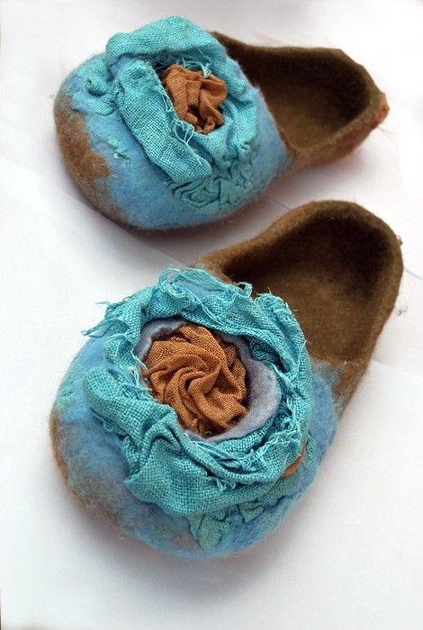SALE Felted slippers BLUE FLOWER