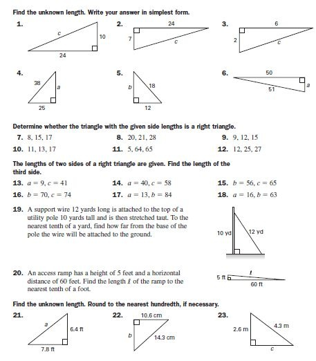 Pythagorean Theorem Practice School Stuff Pinterest