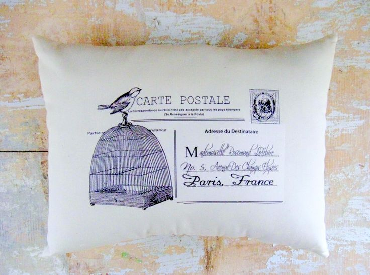 French Pillow, Birdcage, Bird, French Country Home, Paris,