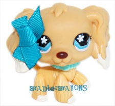Littlest Pet Shop LPS BLONDE & WHITE SPANIEL DOG BLUE EYES # 748