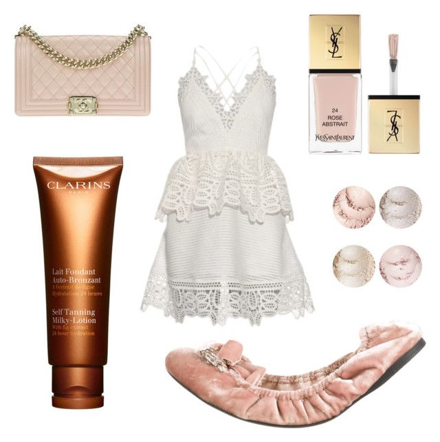 """""""Untitled #2"""" by phoebez657 on Polyvore featuring Miu Miu, self-portrait, Chanel, Yves Saint Laurent and Clarins"""