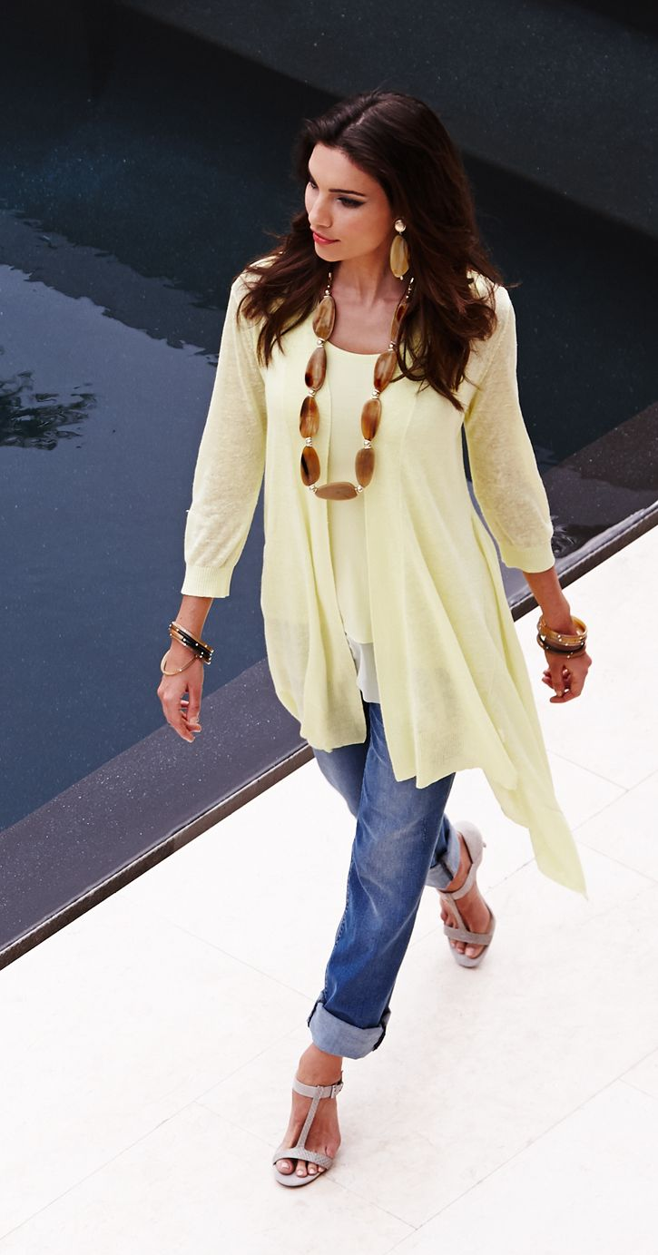 The New Twinset: Double up in a divinely draped cardi and mixed-fabric tank. #BlackLabel #DestinationFabulous #chicos