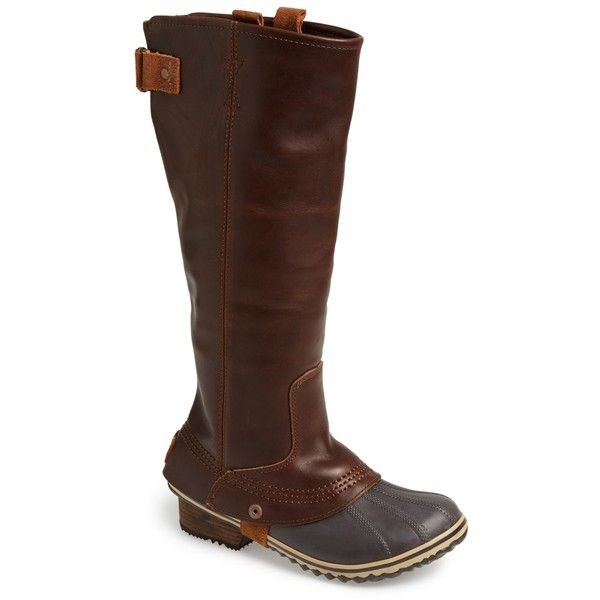 Sorel Slimpack Waterproof Riding Boot (Women) ($120) ❤ liked on Polyvore featuring shoes, boots, knee-high boots, nutmeg, sorel boots, waterproof boots, leather knee boots, waterproof riding boots and knee high leather riding boots