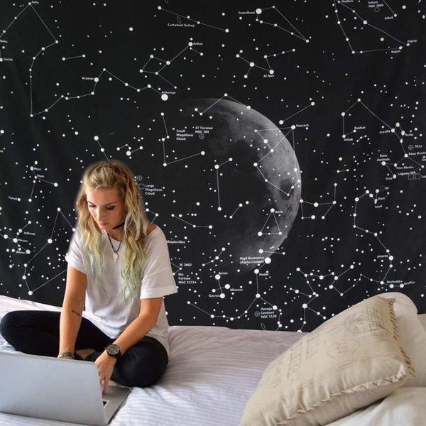 Large Constellation Tapestry Space Planet Galaxy Bedspread Mandala Throw Wall