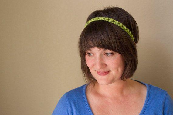 Crochet Kiwi Green Skinny Headband by UnfadingLouise on Etsy, $7.00