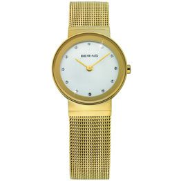 Bering Ladies Stainless Steel Yellow Gold Plate Case Silver Dial Swarovski Crystal/ Sapphire Crystal Glass Mirror Border Yellow Gold Plate Mesh Band 50M