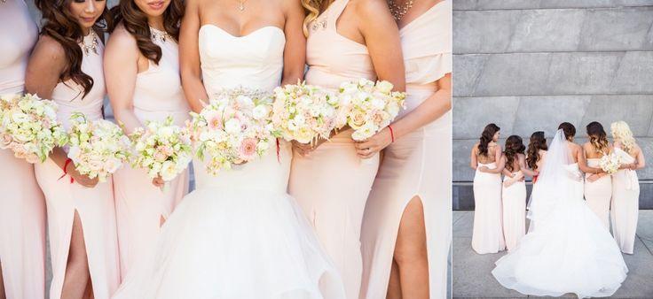 blush bridesmaids dress hayley paige dress edmonton art gallery wedding photos