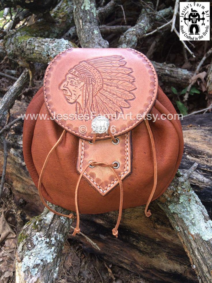 Elkskin Leather Possibles Pouch Hand Tooled Indian Chief. Mountain Man Belt Bag Bushcraft Sporran Deer Antler Rob Roy Drawstring Elk by JessiesFarmArt on Etsy https://www.etsy.com/listing/465398092/elkskin-leather-possibles-pouch-hand