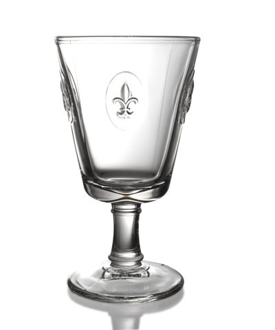 Fluer de Lys Footed Glass - Revive an upscale, old-world look in your dining space with the Fleur de Lys Footed Glass, a chunky yet elegant glassware design with a three-dimensional symbol of refinement and history cast into its walls. Ideal as a water goblet for meals that aren't quite formal enough to pull out the heirloom crystal, this glass makes a sturdy, attractive, and versatile addition to your stemware