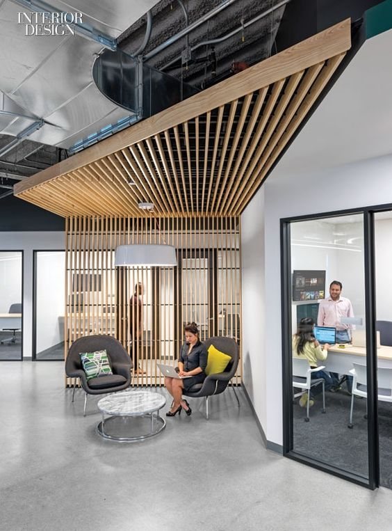 Firm: Design Blitz. Project: Comcast. Location: Sunnyvale, California. Standout: Angles are writ large and small, from the canopies sheltering break-out areas to the pyramids on...