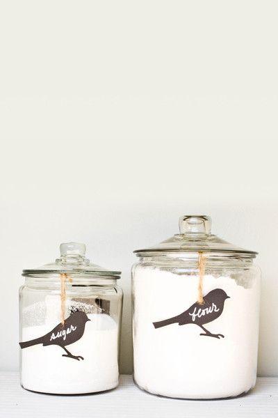 étiquette oiseau bocal