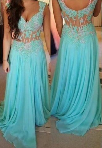 Floor Length Prom Dress,Blue Prom Dress,A Line Evening Dress,Lace Appliques Homecoming Dress,Party Dress Backless,Chiffon Prom Dress,Homecoming Dress for Woman