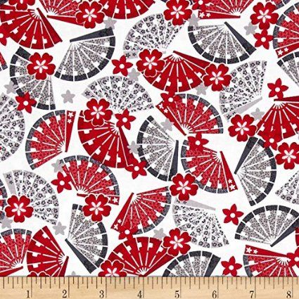 Japanese Fan Fabric Red Grey on White BY HALF METRE - BEN104 - 100% Cotton