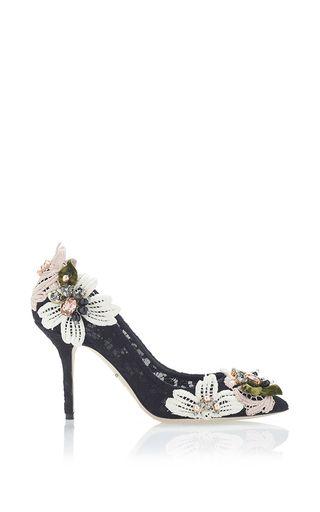 Dolce & Gabbana - Black Decollete Pizzo Catania Floral Appliqué Pumps