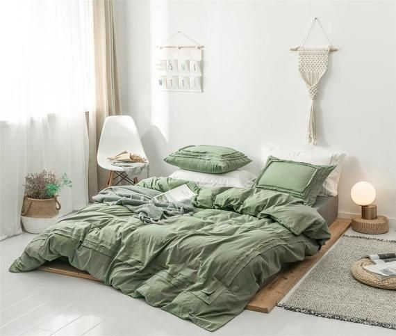 Stripped Army Green Duvet Cover Bordered Pure 100 Cotton Quilt Cover Boho Bedding Sets Warming Sage Green Bedroom Green Bedroom Decor Green Comforter Bedroom