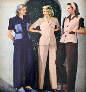 Before 1940s, woman weren't wear pants. But when WWII happened, woman start to do men's work. To convenient in working, woman start wearing men's pants. And then it soon be a part of their wradrobe. I think pants is a very important part in fashion.