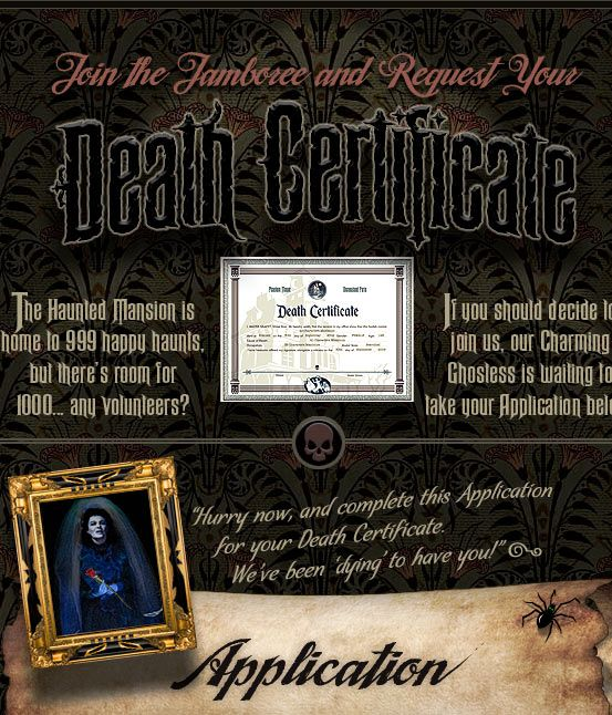 Get your own Haunted Mansion Death Certificate free!  I've used them for Halloween or 40 birthday parties!  http://yourdeathcertificate.com/