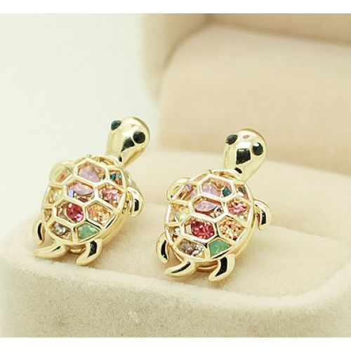 Lovely Cute Rhinestone Turtle Animal Earrings for only $9.99 ,