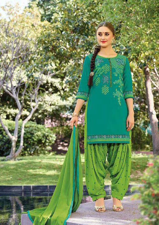 Rama Green Pure Cotton #Patiala Suit