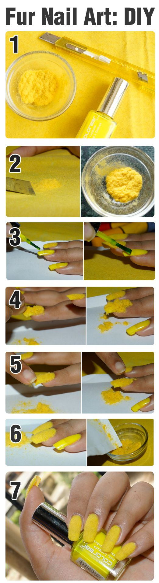 """Homemade flocking powder pictorial: Use a straight blade to """"shave"""" material of your desired color to create flocking powder and save it in a bowl. Paint your nails with a similar color polish and while still wet, with paper underneath,  sprinkle the powder over the nails. Use the paper to save the remaining powder."""
