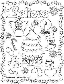 Believe Christmas Printable Coloring Page ParentingLeeHansen SheetsPrintable Adult