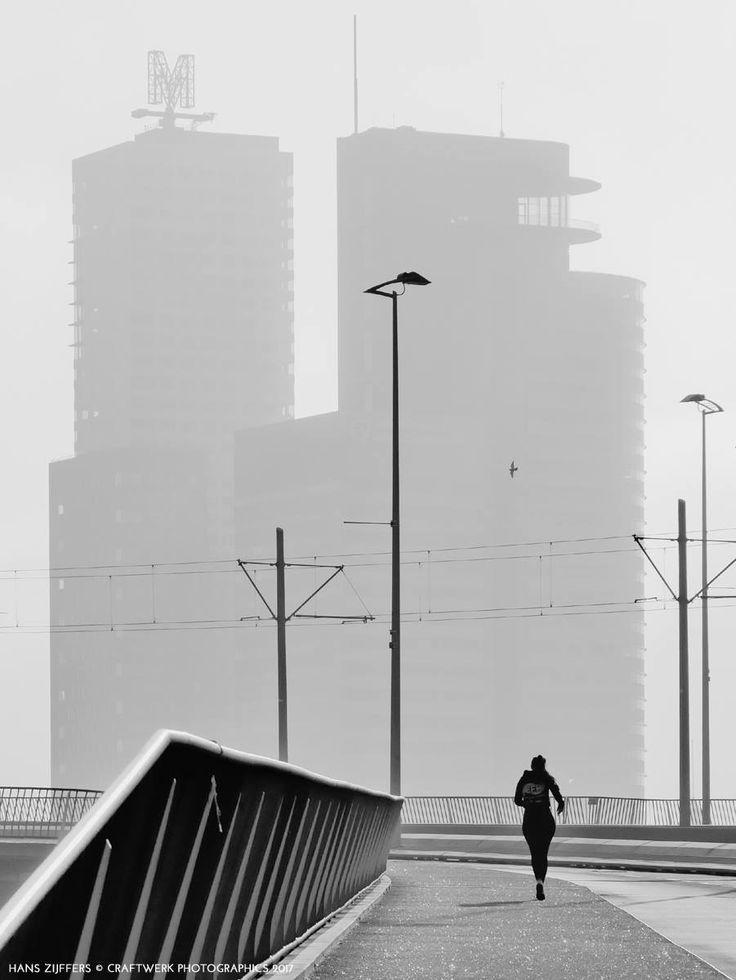 Rotterdam, Erasmubrug, Early morning, running