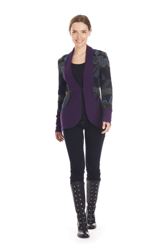 Purple upcycled sweater cardigan with bamboo contrast shawl collar by Jennifer Fukushima.  Made in Canada.