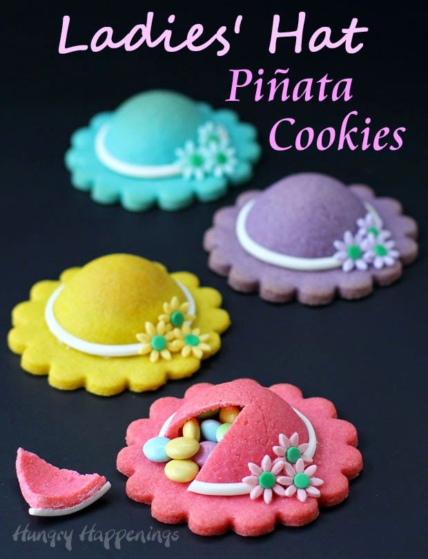 These Ladies' Hat Piñata Cookies will make a lovely dessert for Mother's Day, a Kentucky Derby Party, or even a bridal shower.