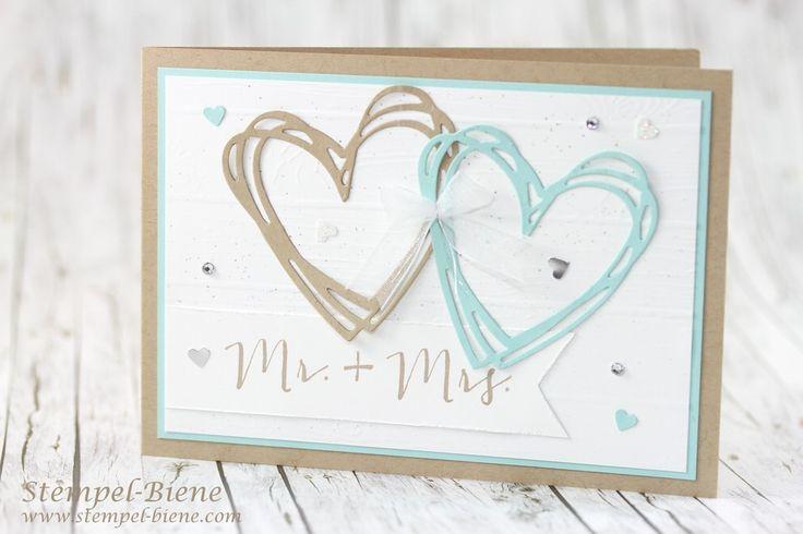 Hochzeitskarte; Glückwunschkarte Hochzeit; Hochzeitspapeterie; Hochzeitsdeko; stampinup Hochzeit; Alwaysandforever; Mr. und Mrs. Stempel; Hochzeitsworkshop; Stempel-Biene