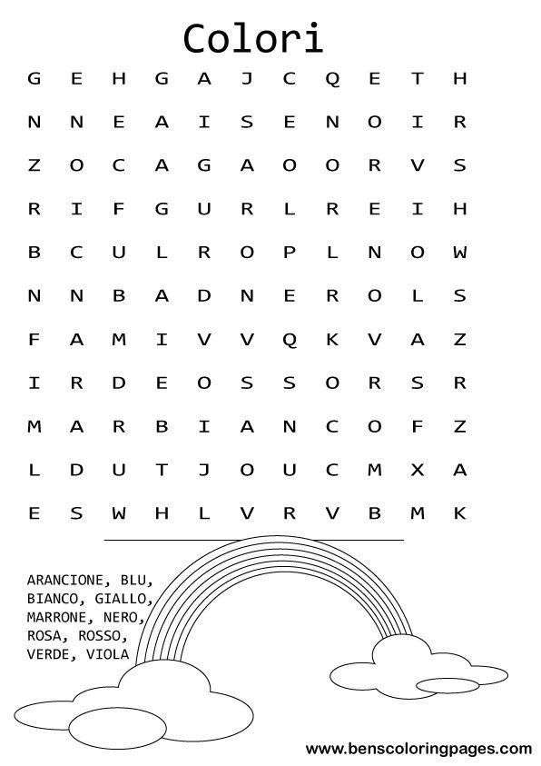 Colors themed childrens word search