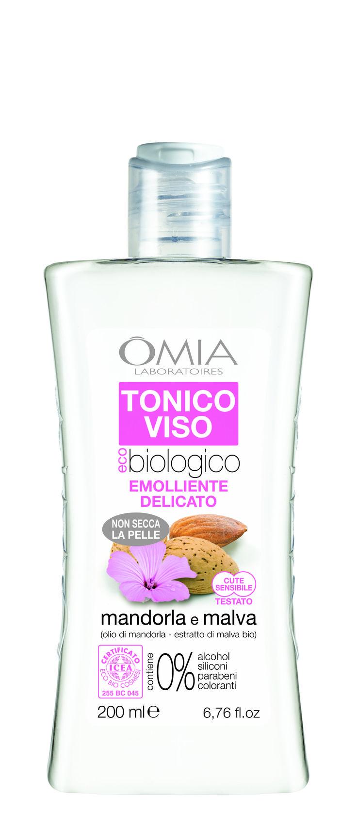 Tonico viso omia con olio di mandorla e estratto di malva bio 200ml per pelli normali secche e - Omia bagno seta olio di jojoba inci ...