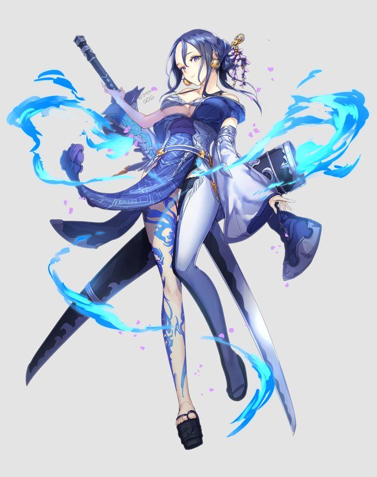arcane, frost, mage, wizard. blue, hair, katana.