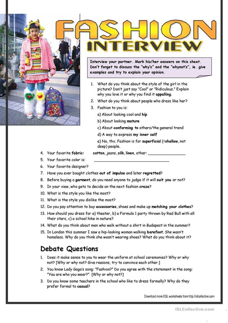 Interview Questions about Fashion (interm.) | Interview ...