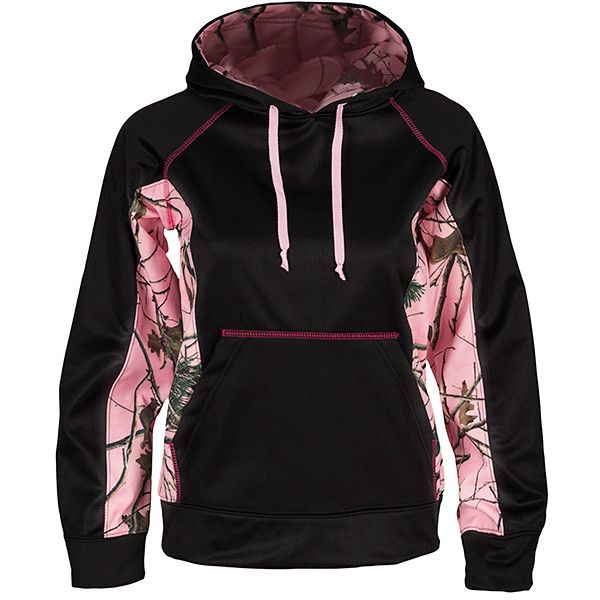 Trail Crest Black & Pink Camouflage XRG Hoodie (38 CAD) ❤ liked on Polyvore featuring tops, hoodies, camouflage hoodies, pink camo hoodie, pink hoodies, pink hooded sweatshirt and pink camouflage hoodie