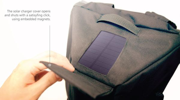 Designed for everyone from the urban commuter to the adventurous camper, Prism is the most digital-friendly backpack out there. Like any good pack, it's waterproof, shock resistant, comfortable, and quickly accessible. But what sets it apart is a built-in 4000mAh solarcharger that delivers power to your phone, tablet or other electronic devices. Solar panels located at the top are always exposed to the sun while you're wearing it, so as long as it's shining you're getting juice!