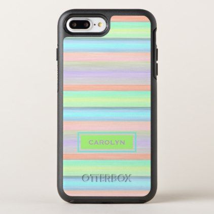 Custom Coral Pink Lime Green Turquoise Stripes OtterBox Symmetry iPhone 8 Plus/7 Plus Case - #chic gifts diy elegant gift ideas personalize