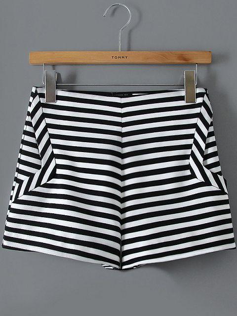 Black White Striped Straight Shorts