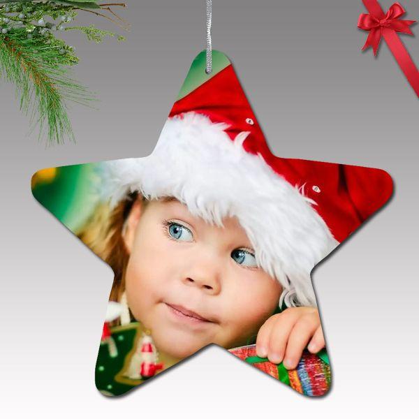 Fényképes karácsonyfa dísz - műanyag, csillag