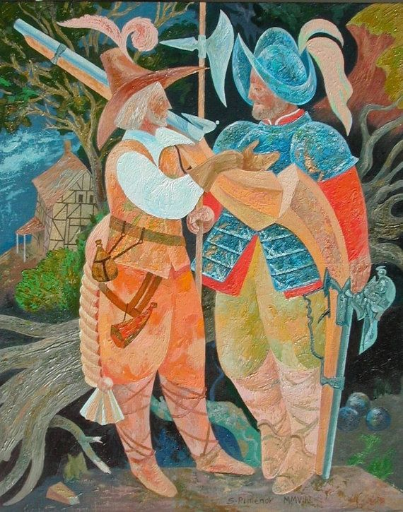 Two Soldiers and a Fallen Tree oil canvas on by SergioArteStudio