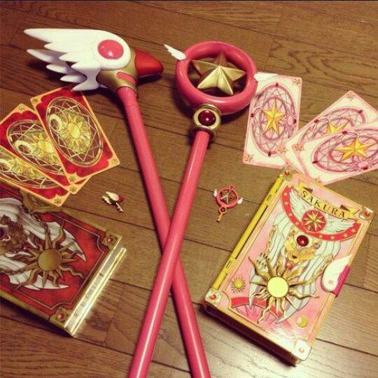 Vara del Sello y Vara de la Estrella con cartas clow y cartas sakura