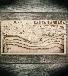 Santa Barbara Carved Wood Map