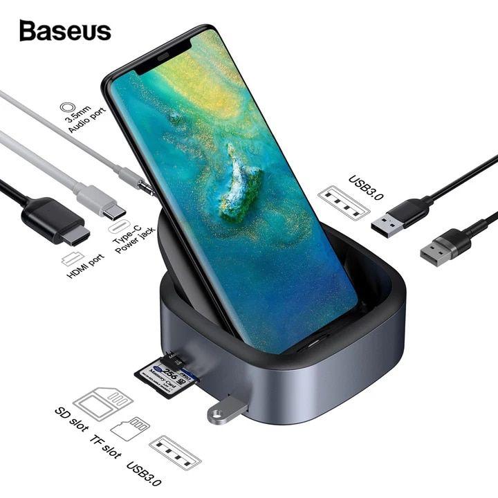 All 6 864 52 42 Off Baseus Usb C Hub Docking Station For Huawei P30 P20 Pro Samsung S10 S9 Dex Pad Estación De Acoplamiento Smartphone Teléfono Inteligente