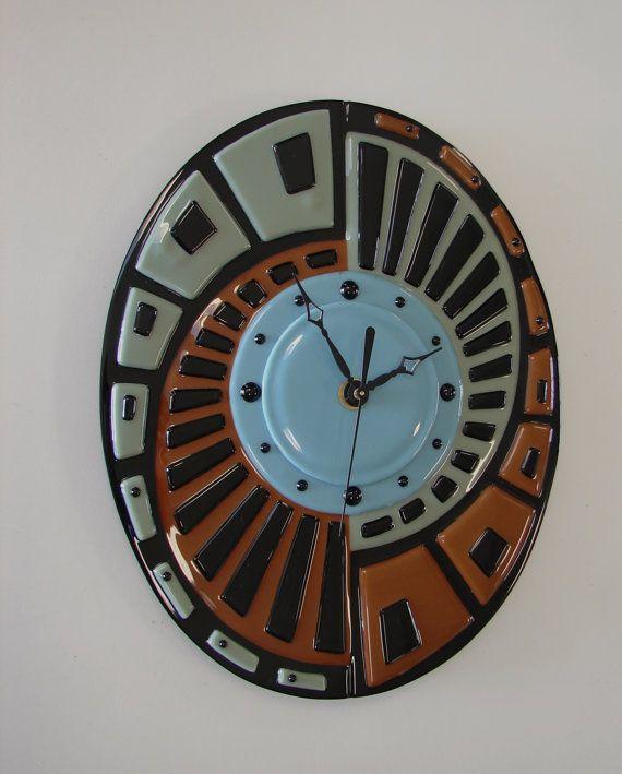 12 Fused Glass Clock  Quartz Movement  Abstract  by RockinMosaics