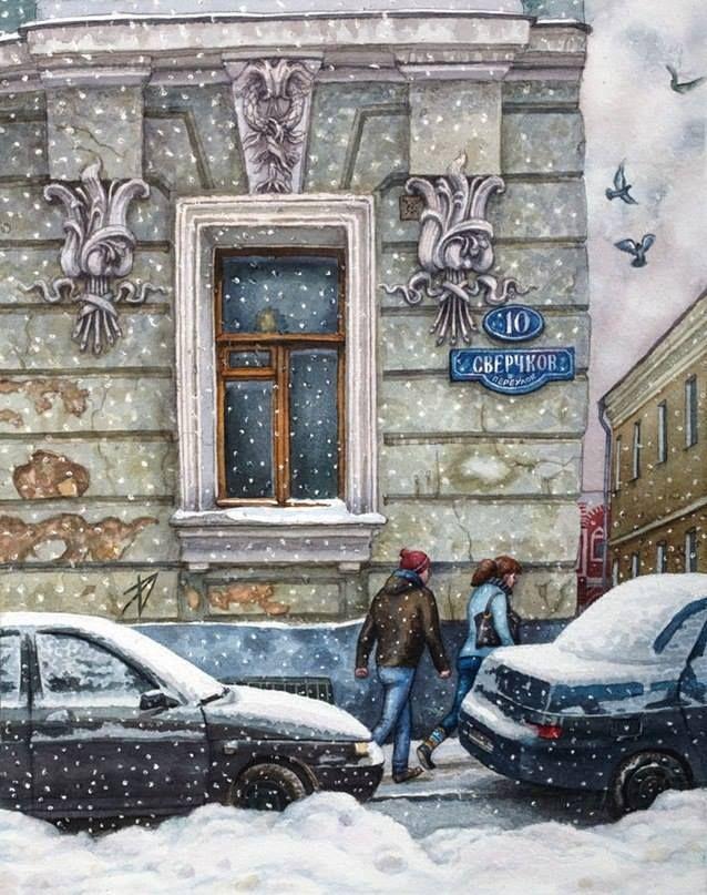 Заснеженная Москва в акварелях Алёны Дергилёвой.