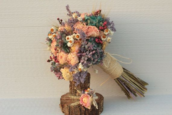Pink Blue Lilac and Wheat Wedding Bouquet by SmokyMtnWoodcrafts