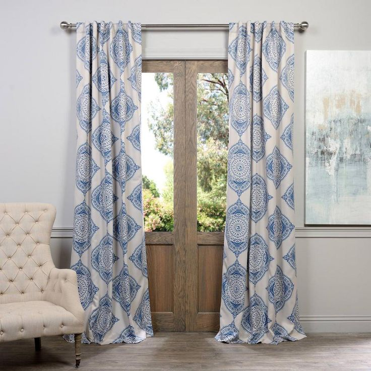 Exclusive Fabrics & Furnishings Semi-Opaque Henna Blue Blackout Curtain - 50 in. W x 96 in. L (Pair)