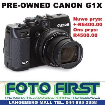 Ons het 'n baie goeie (bykans nuut) Canon GX1 (High-end Bridge Camera) te koop  Nuwe prys: +/- R6400.00  Ons prys :R4500.00  Kom besoek gerus ons winkel by die Langeberg mall