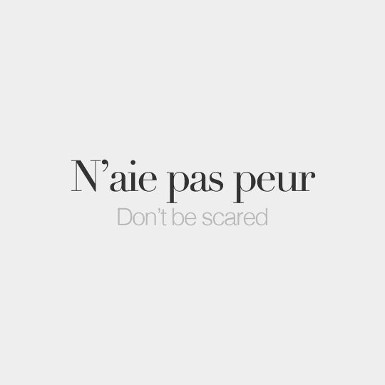 N'aie pas peur. = Don't be scared. | French